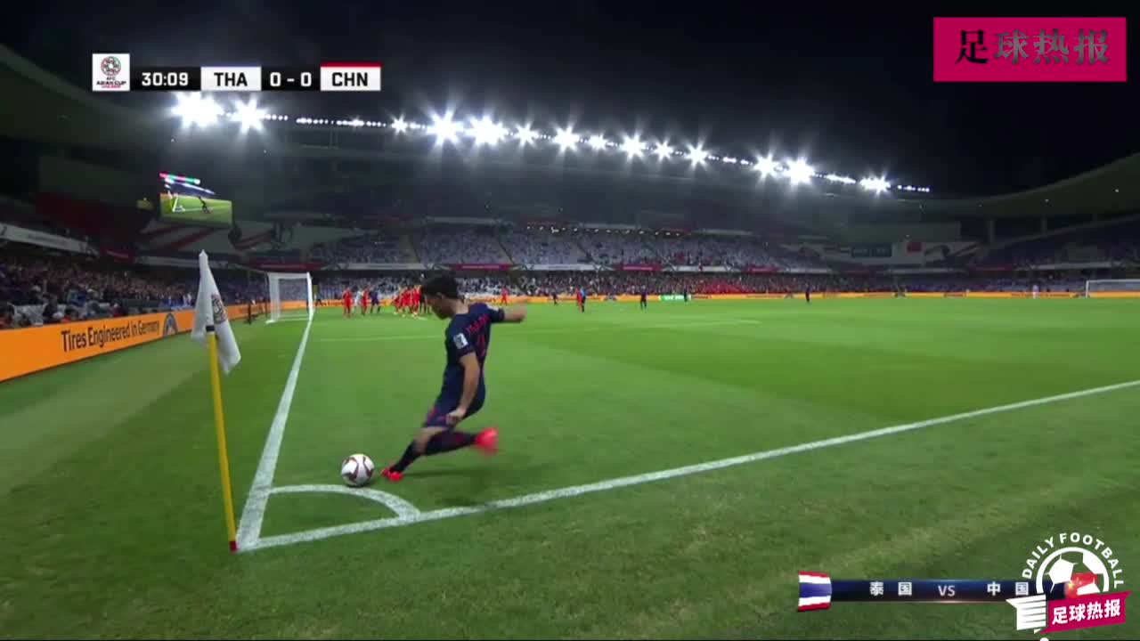 泰国角球连续多脚攻门进球,1-0领先中国队!