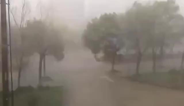 安徽当涂县遇雷雨大风,场面似台风过境,居民称大风刮掉房顶房门