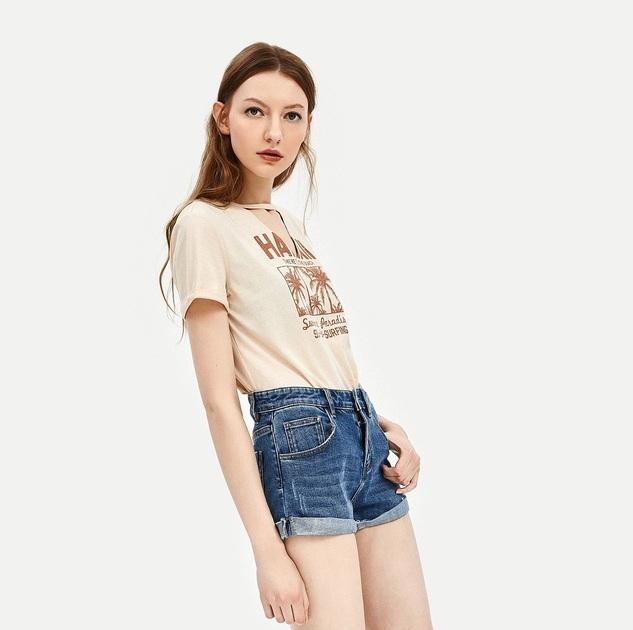 UR2018夏季新品女装合身卷边磨白洗水丹宁牛仔短裤WH14RBKN2003 蓝色 M(160/68A)优惠券