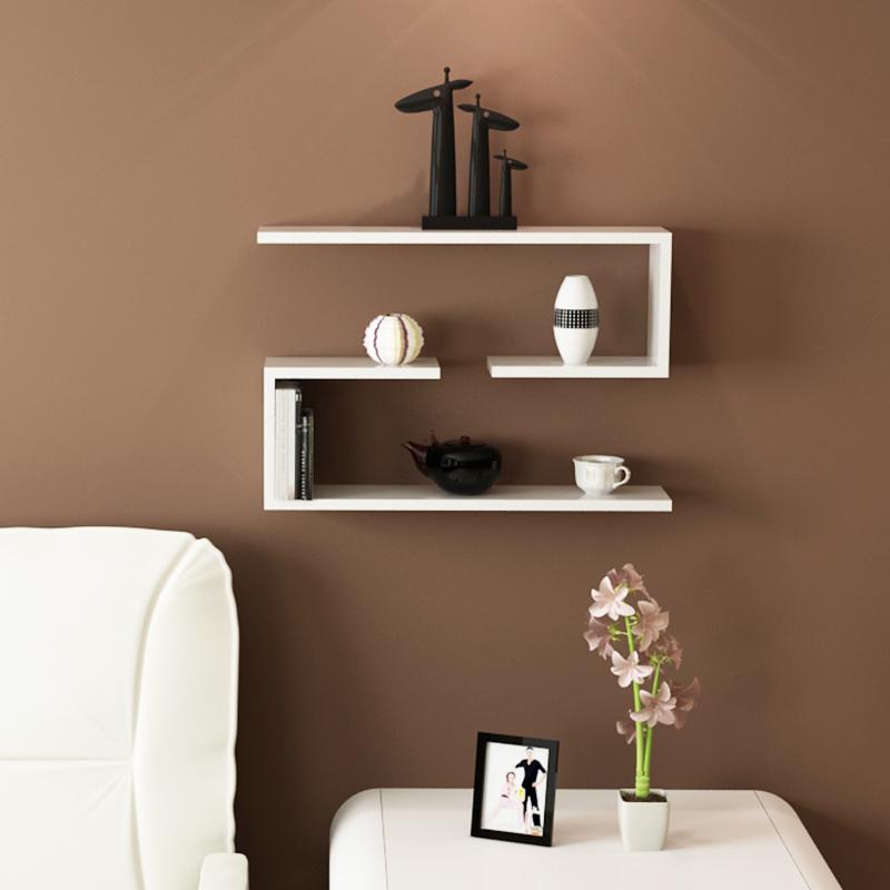 鹿游记 J型隔板墙上置物架墙壁搁板壁挂装饰架客厅书房墙面电视机背景墙书架层板架子 白色-2个装优惠券