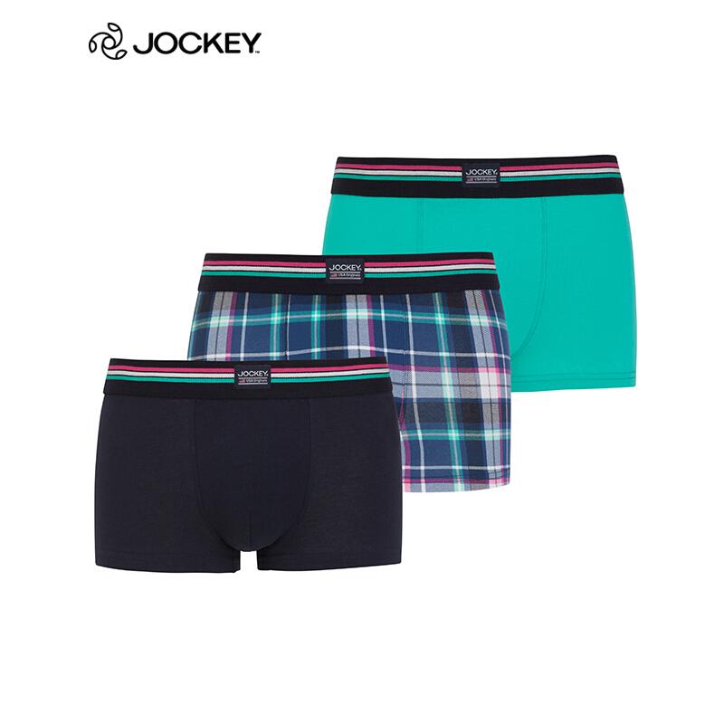 Jockey男士内裤【3条装】 棉质中腰透气性感平角裤 男内裤三角内裤 100白色 180/100 L优惠券