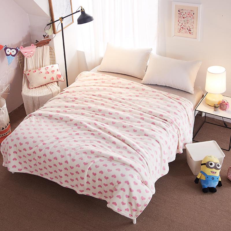 天池茗品毛毯被夏季加厚珊瑚绒毯子薄垫床单人双人盖毯办公室夏学生小儿童毛毯垫四季夏天 粉色爱心 150*200cm加厚款380克/平方优惠券