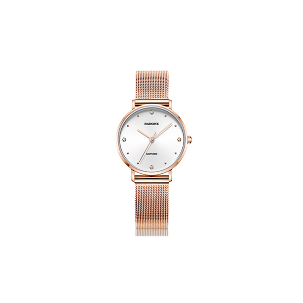 雷诺(RARONE)手表 女士镶钻石英防水腕表钟表 简约时尚粉带优惠券