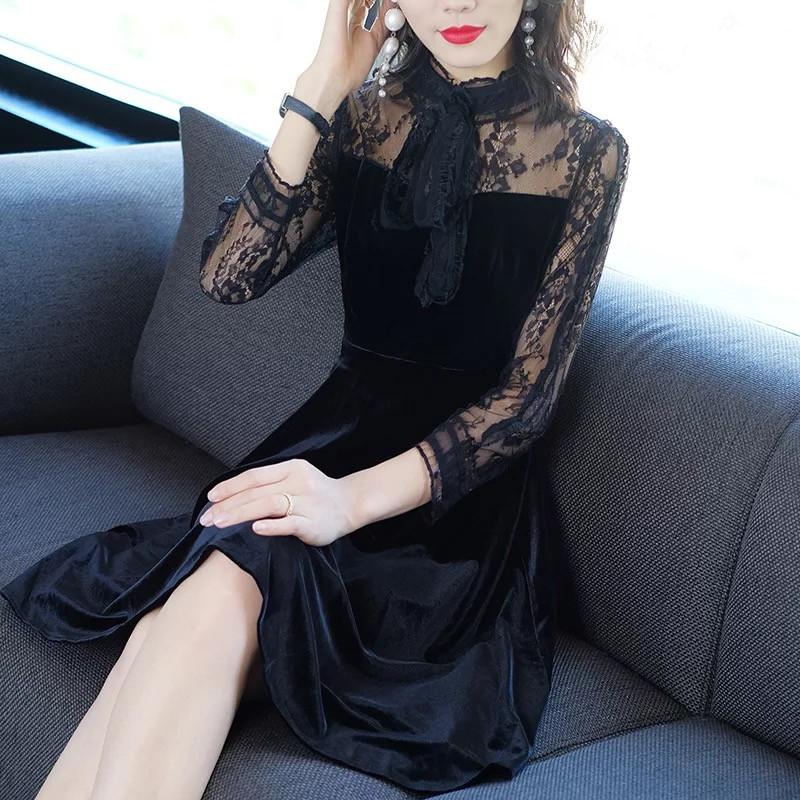 黑色修身蝴蝶结镂空蕾丝拼接丝绒连衣裙优惠券