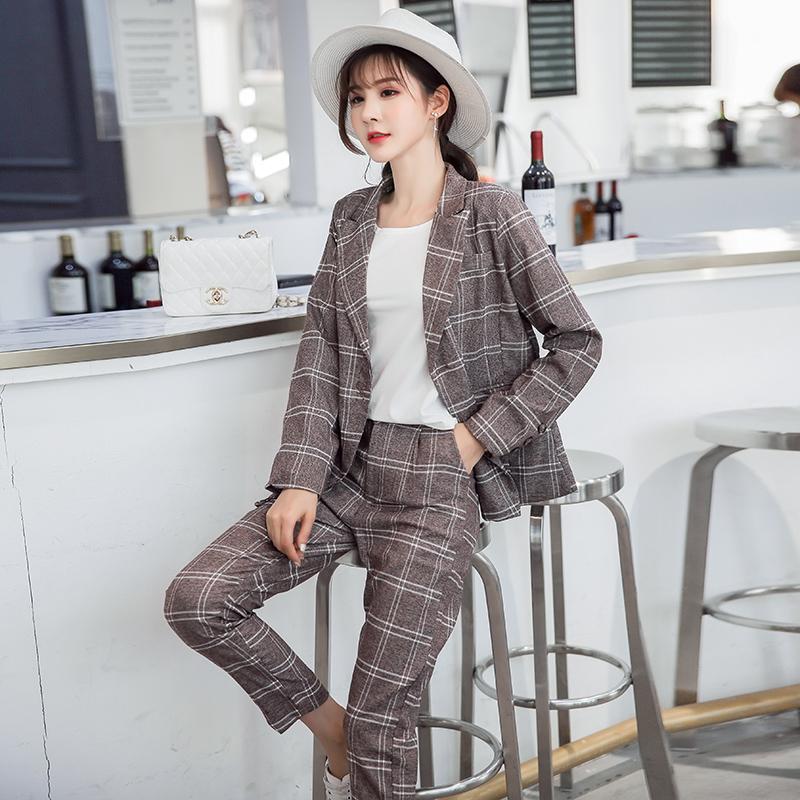 2018春装新款女装时尚格子小西装套装优惠券