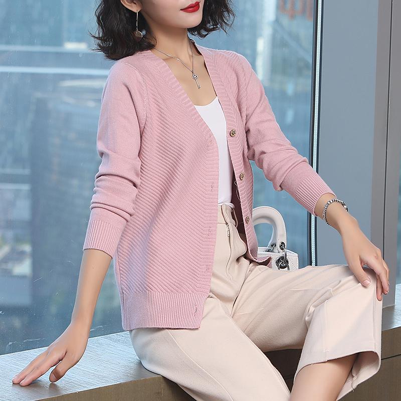 韩版秋装新款针织开衫短款宽松外搭V领优惠券