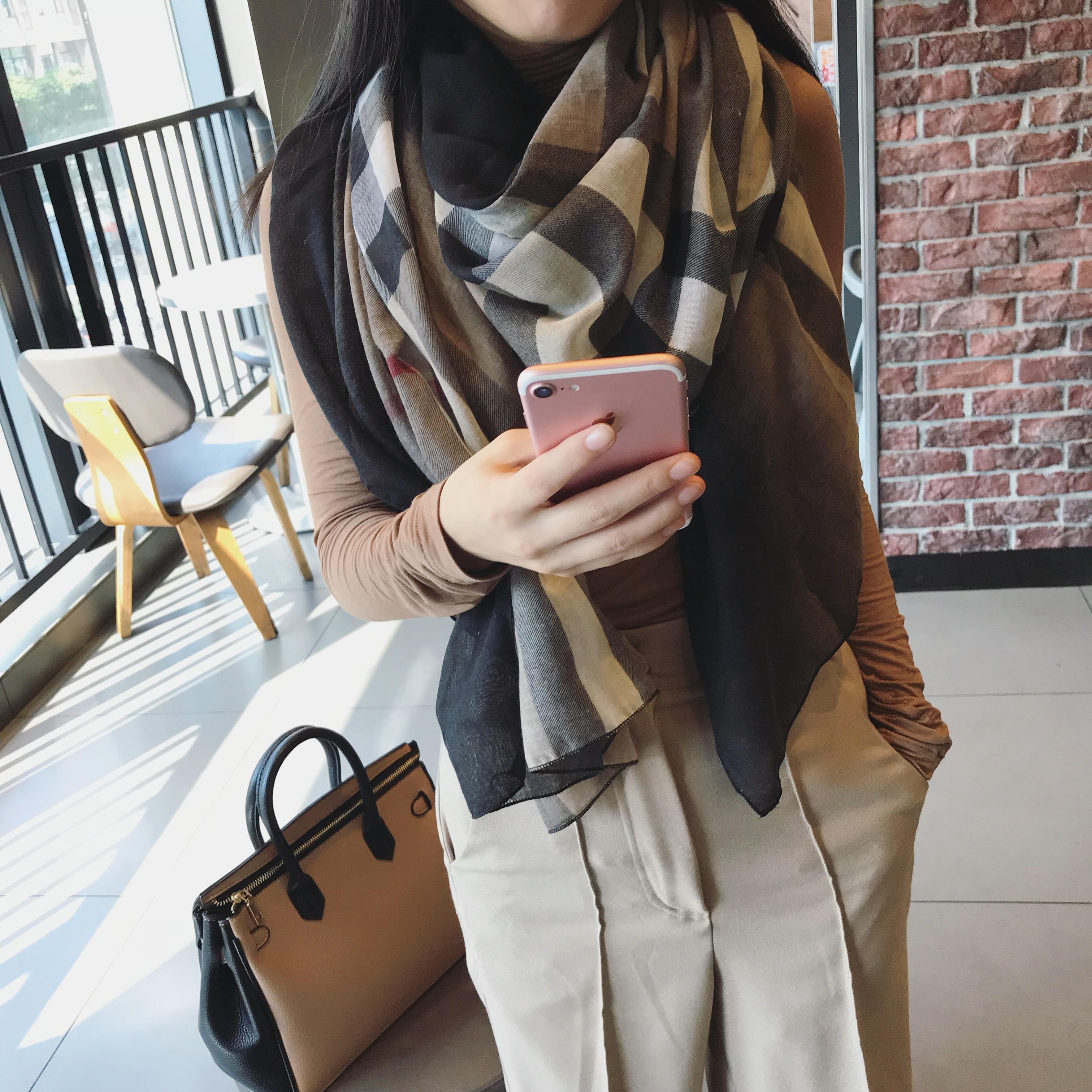 韩风围巾女冬季明星同款格子围巾拼色纱巾装饰长丝巾围脖披肩t优惠券