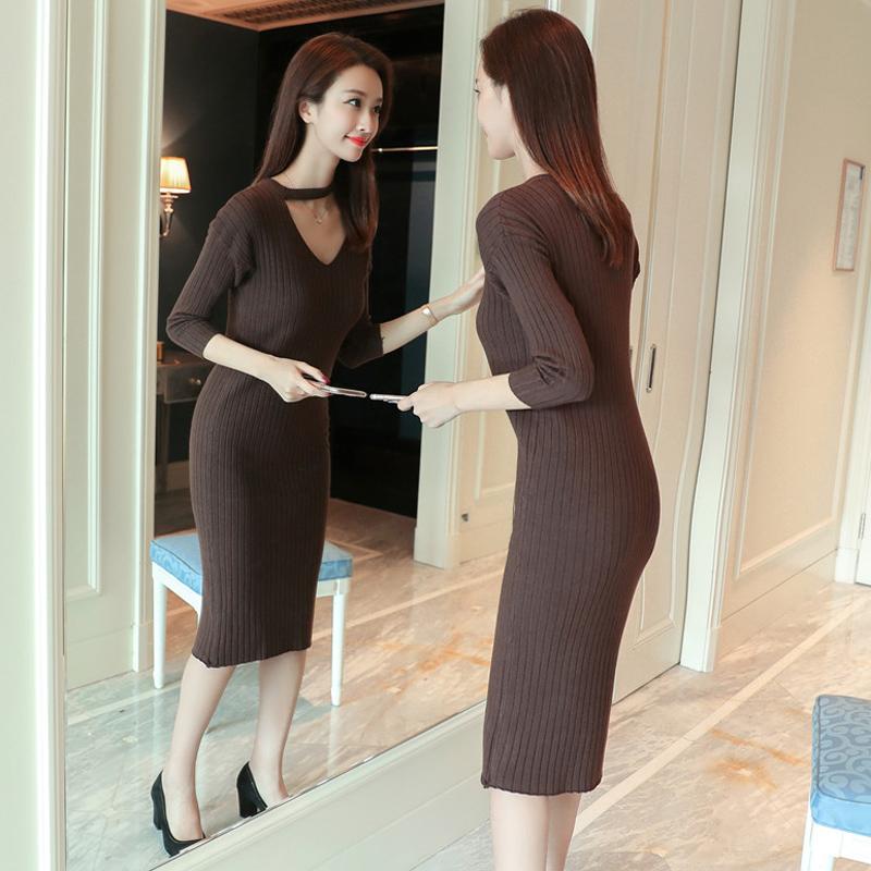 新款韩版中长款性感针织包臀连衣裙优惠券
