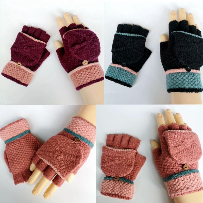 冬季保暖女士半指手套_女生可爱针织毛线两用翻盖露指手套批发