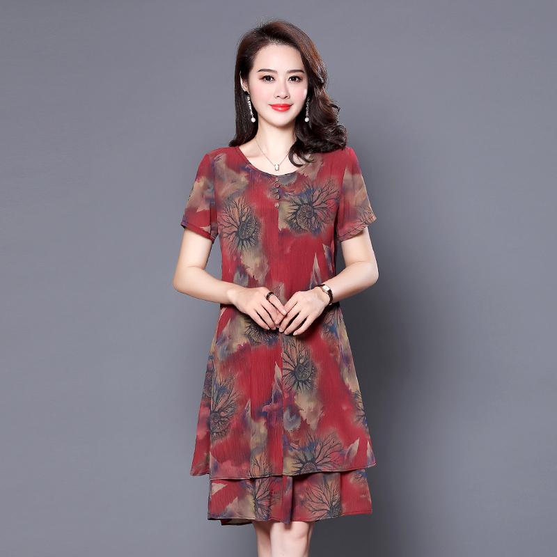 中年妈妈的连衣裙,显嫩减龄还巨遮肉,中秋送老妈真合适
