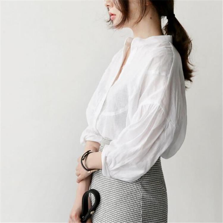 亚麻棉麻料韩版休闲衬衫女无领衬衣优惠券