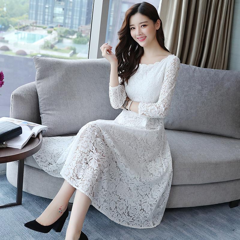 女秋季显瘦韩版镂空蕾丝连衣裙优惠券