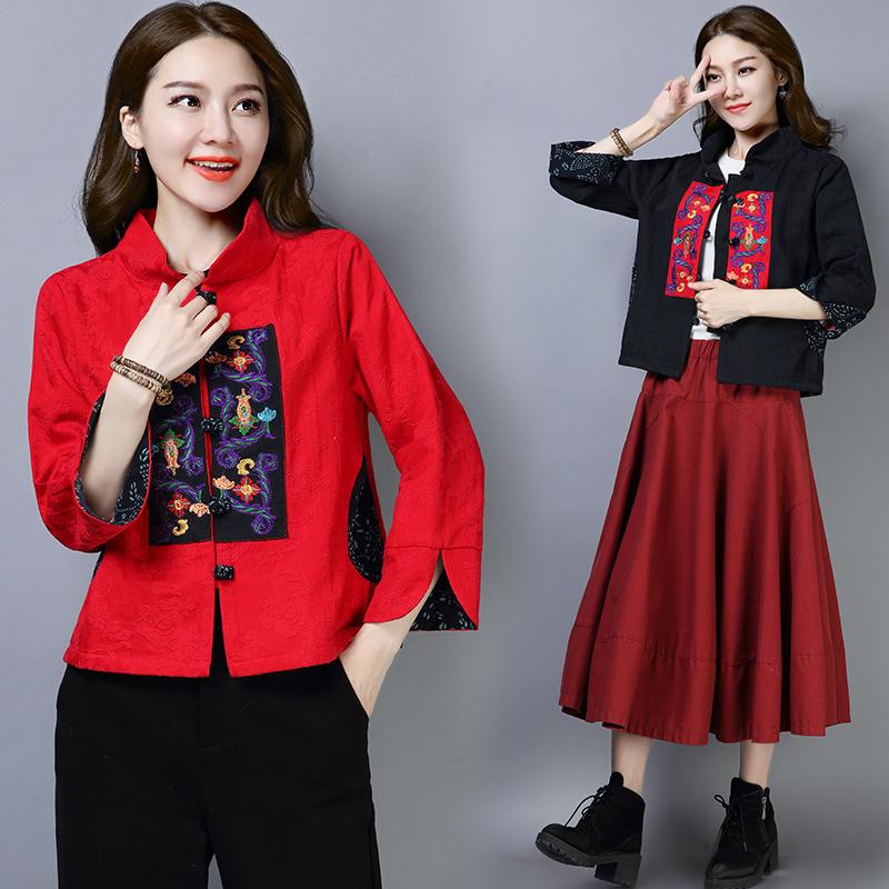 秋季新款大码女装中国风短款提花复古民族风优惠券