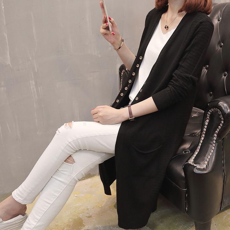 秋季新款女装针织衫两侧两条口袋中长款开衫优惠券