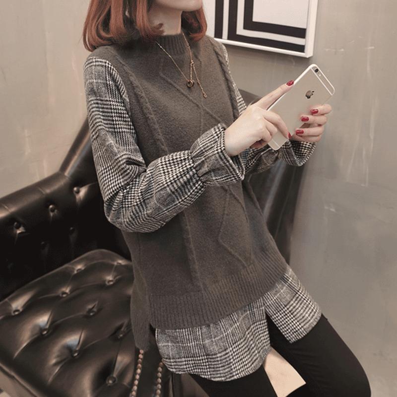 韩版慵懒风毛衣外套女宽松假两件上衣女长袖优惠券