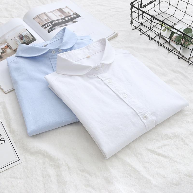 纯色娃娃领牛津纺白色衬衣女装春秋新款优惠券