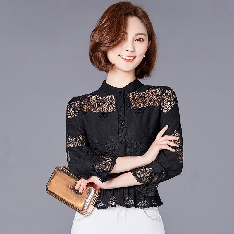 秋装新款女装蕾丝衫女镂空长袖打底衫优惠券