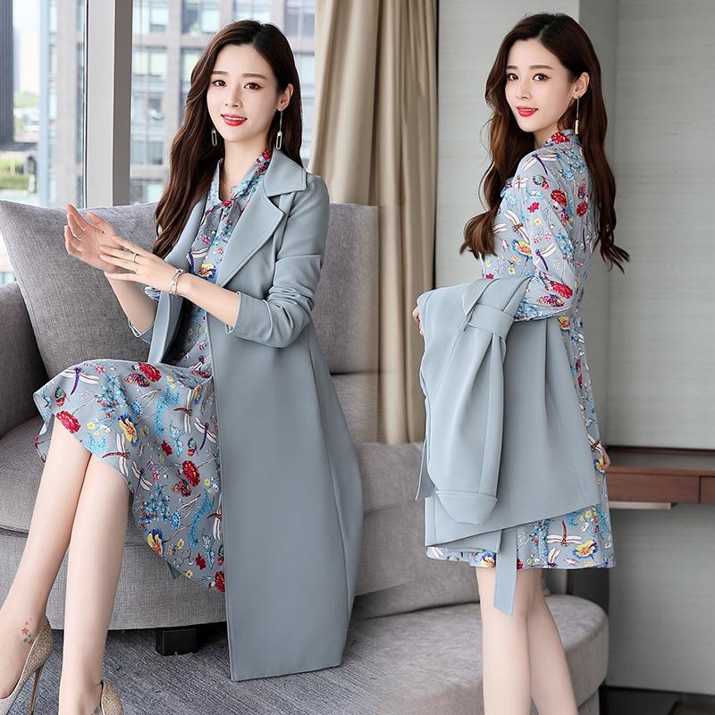套装裙两件套秋新款风衣连衣裙两件套女装优惠券