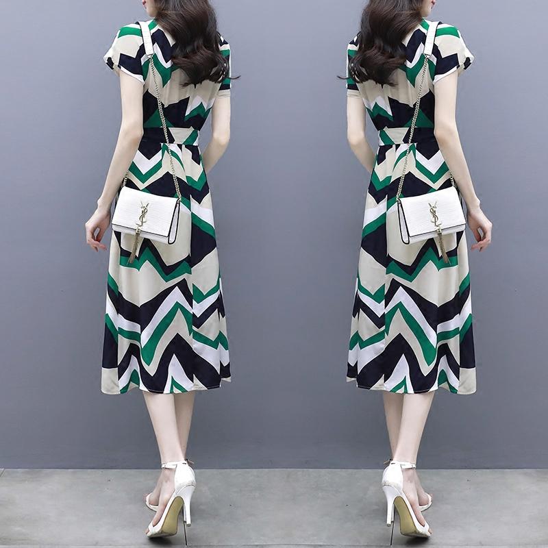 夏装超仙收腰温柔裙中长款气质修身显瘦开叉优惠券