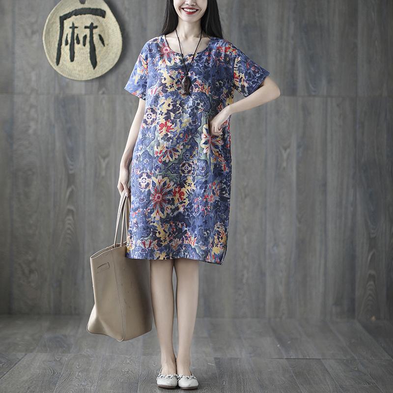 新款民族风印花棉麻连衣裙复古短袖中长裙优惠券