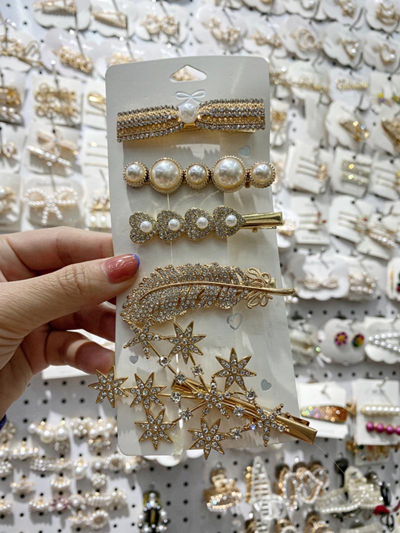 一字珠珠树枝浅金色5件套发夹