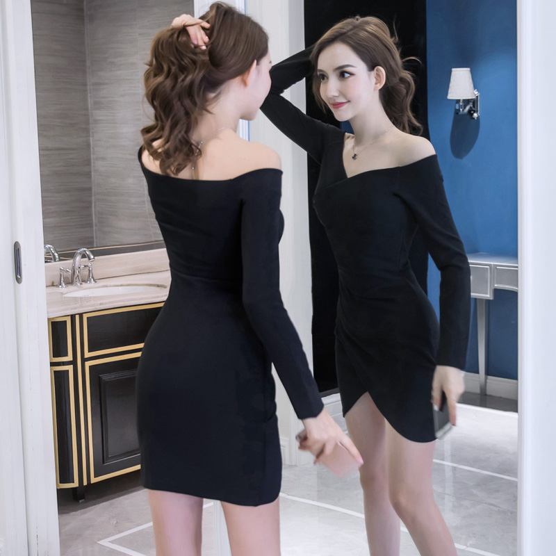 长袖修身包臀连衣裙紧身漏肩一字领裙子优惠券