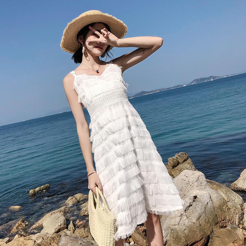 泰国沙滩裙女小白裙露背吊带心机连衣裙子优惠券