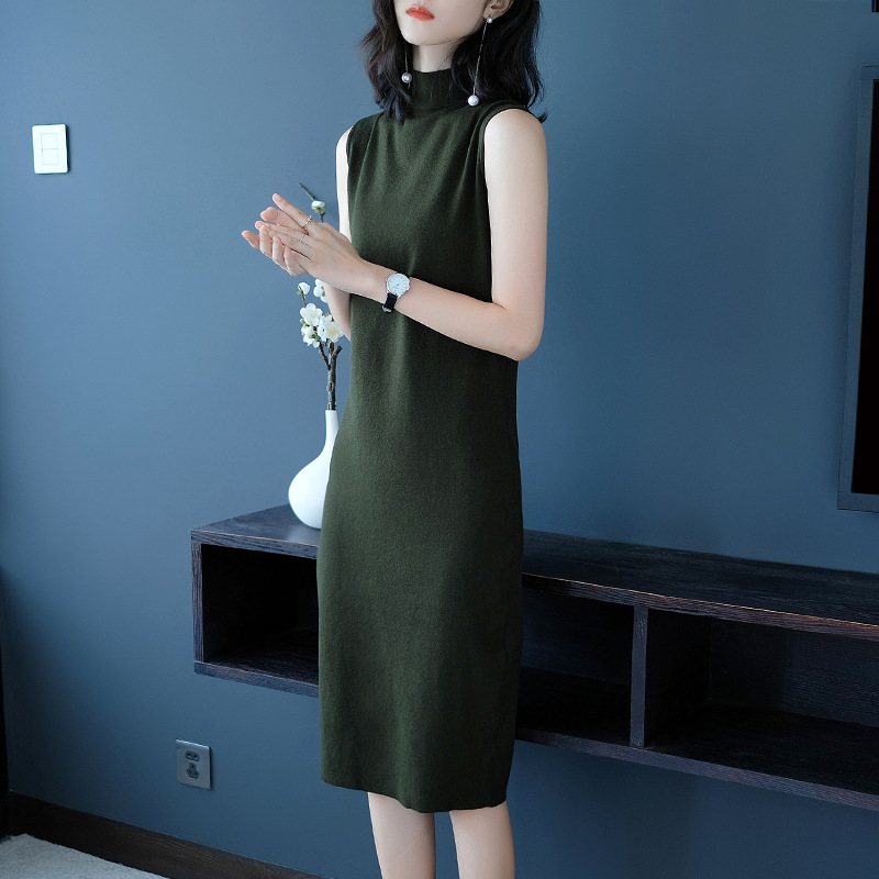 韩版修身显瘦无袖针织打底裙子B2328优惠券