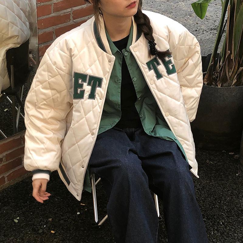 冬季新款学生夹棉棒球服夹克外套女原宿风宽松棉袄情侣棉服女潮