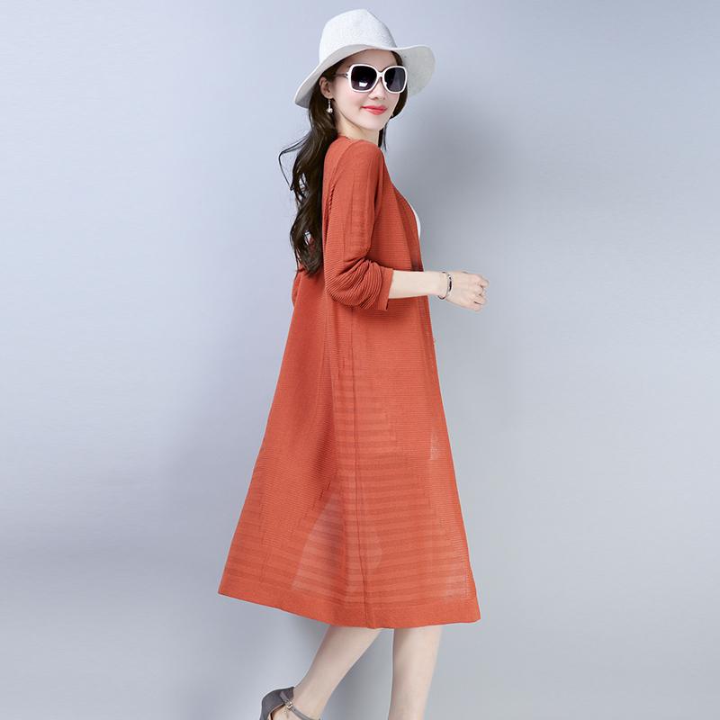 秋装新款纯色薄款针织羊毛开衫女长款羊绒衫优惠券