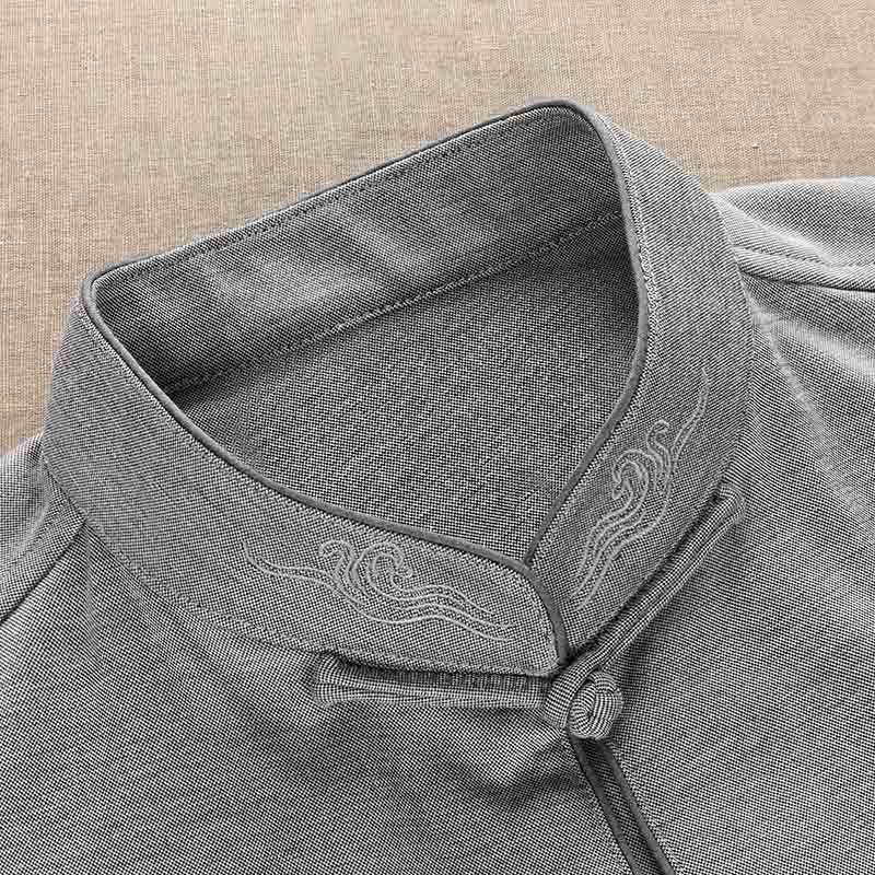 春秋季新款唐装男士长袖衬衫中国风男装刺绣优惠券