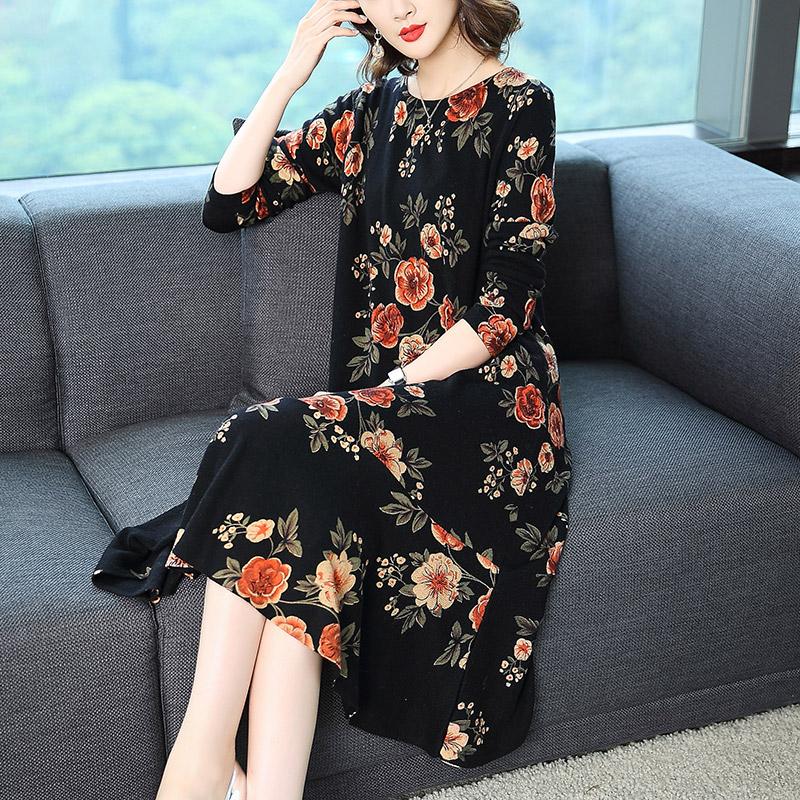 新款印花羊毛针织连衣裙优惠券
