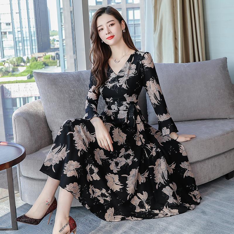 2018新款韩版中长款气质秋款雪纺连衣裙优惠券