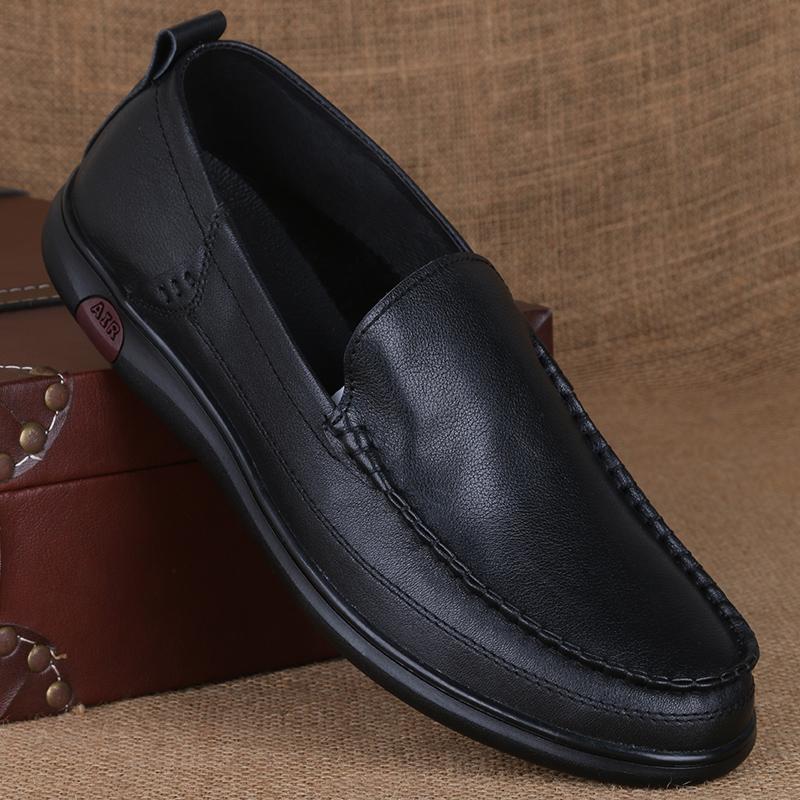 男士皮鞋真皮休闲春季透气男鞋软面皮优惠券