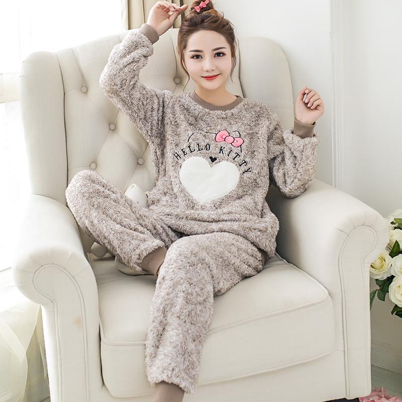 家居服秋冬季中年珊瑚绒睡衣女士套装hn优惠券