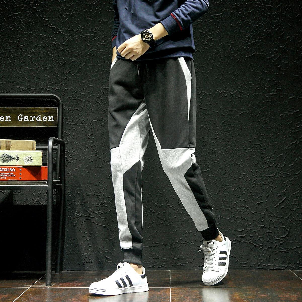 运动裤男宽松休闲裤夏季拼接束脚裤男士薄款优惠券