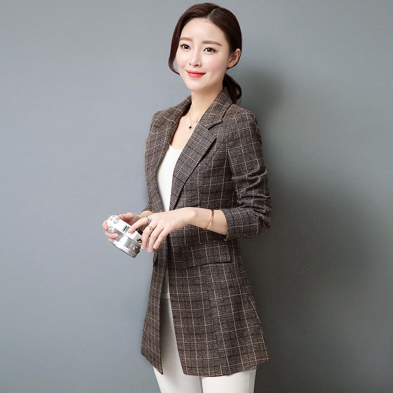小西装外套女2018秋装时尚中长格子西服优惠券