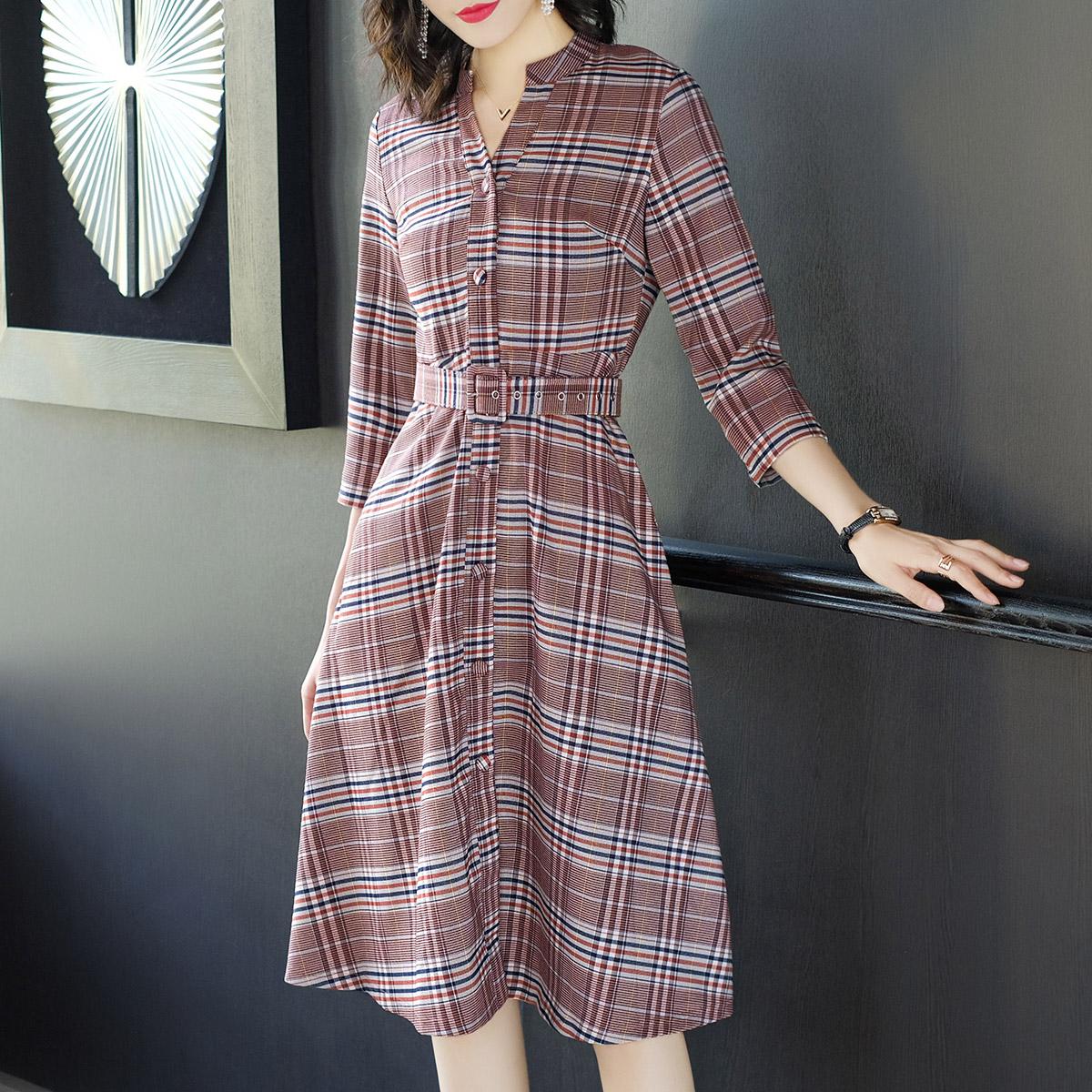 时尚格子复古衬衫裙优惠券
