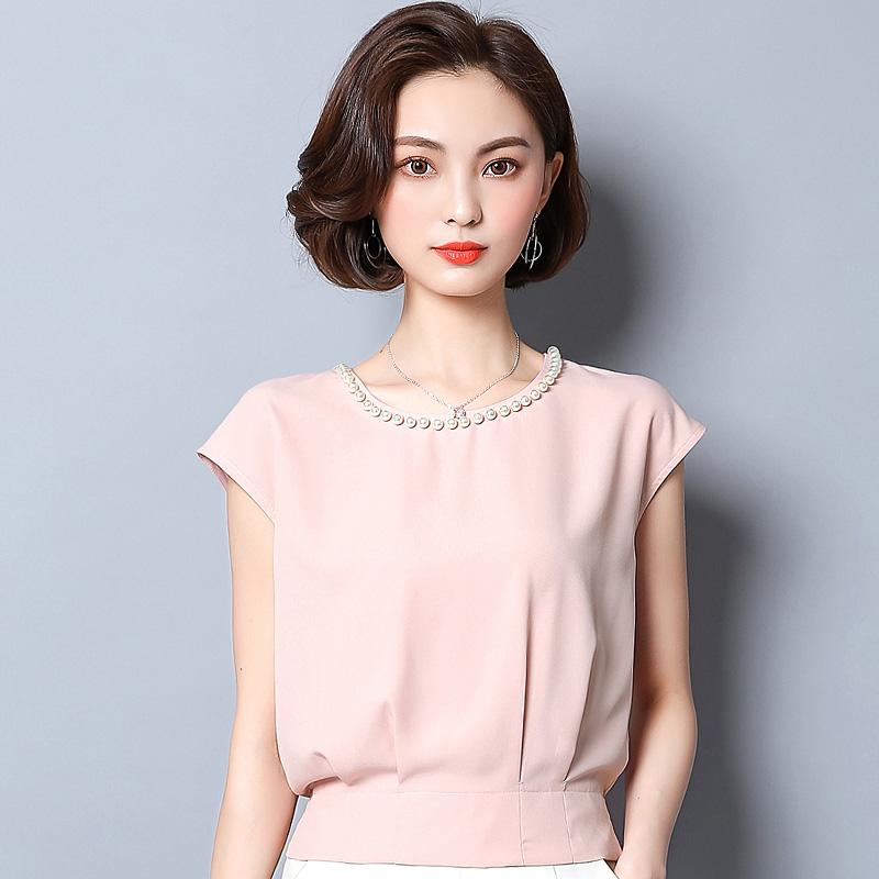 新款雪纺短袖女夏收腰短装上衣优惠券