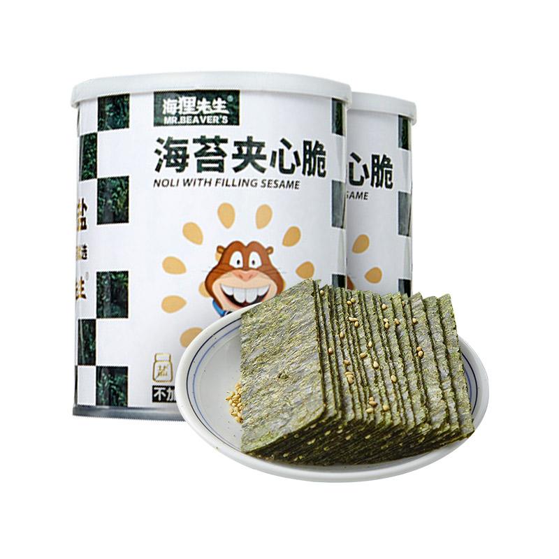【4罐】海狸先生 不加盐海苔夹心脆 芝麻味/米果味