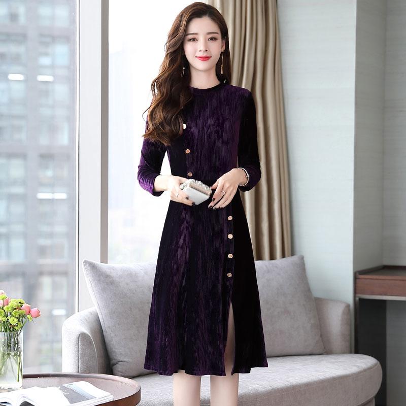 2018新款韩版长袖中长款气质时尚修身裙优惠券