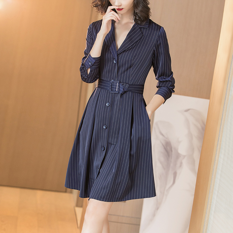 秋季新款深蓝色竖条纹修身显瘦系带连衣裙优惠券