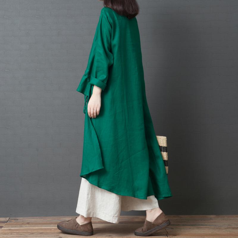 亚麻纯色衬衫裙大码中长款衬衣裙子优惠券
