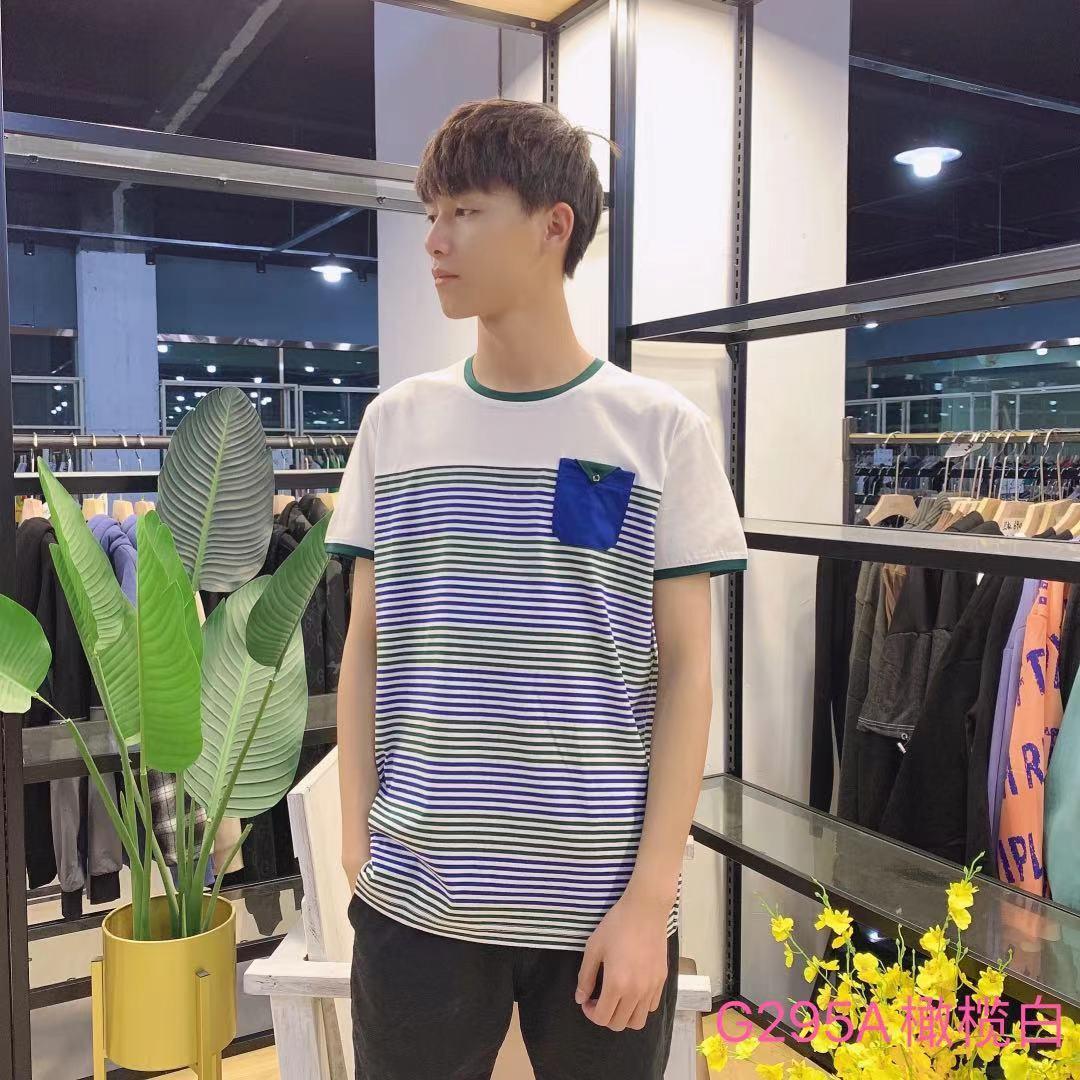 男装HL夏款短袖T恤圆领G295A(橄榄白)
