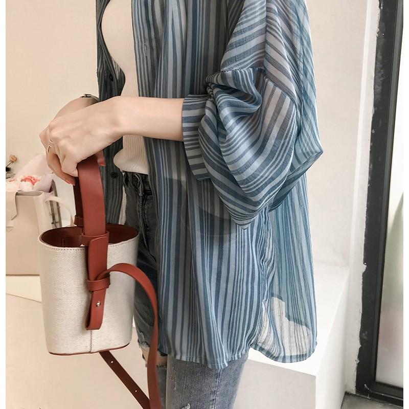 秋装新款韩版宽松灯笼袖条纹衬衫女雪纺开衫优惠券