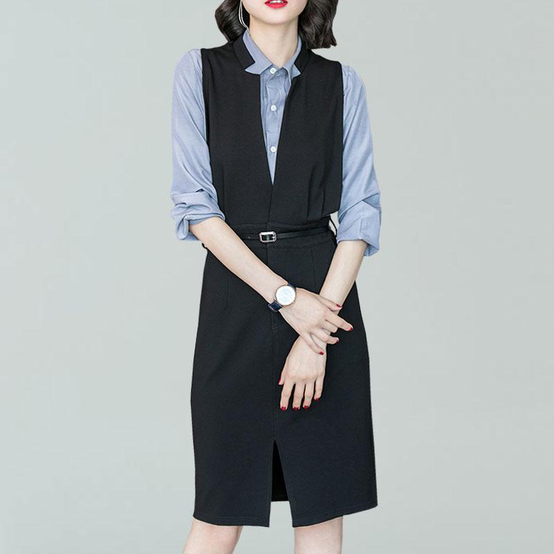秋季修身背心裙显瘦开叉连衣裙女衬衫两件套优惠券