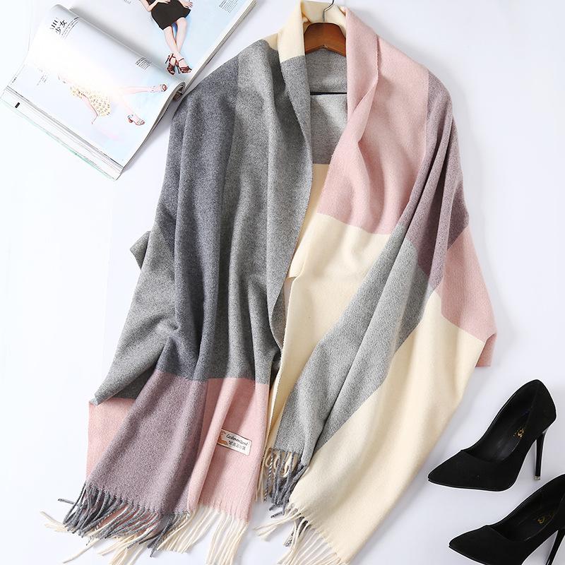 围巾女季格子羊绒披肩长款韩版百搭两用秋冬羊毛英伦风加厚保暖优惠券