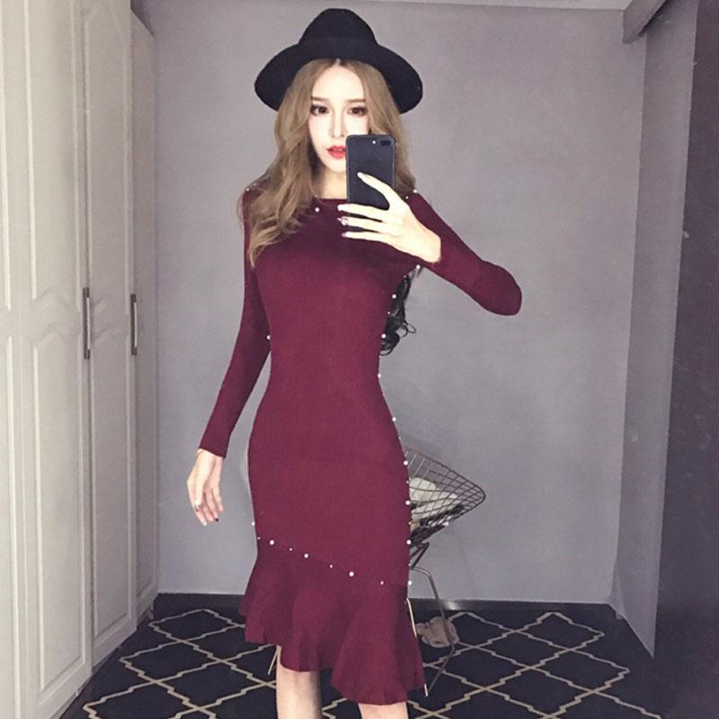 秋装新款长袖钉珠鱼尾包臀连衣裙优惠券