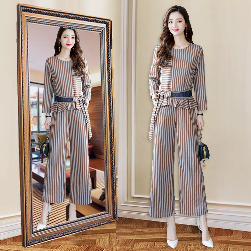 时尚套装秋装女新款韩版阔腿裤条纹两件套优惠券