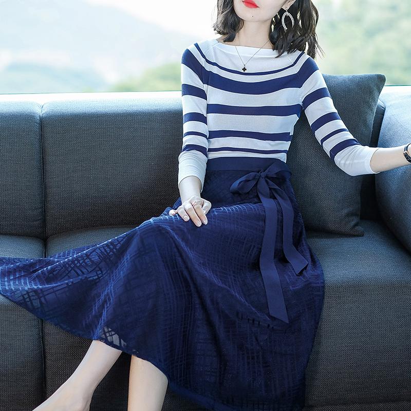 条纹针织衫洋气网纱半身裙两件套优惠券